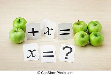 escuela, ecuación, manzanas