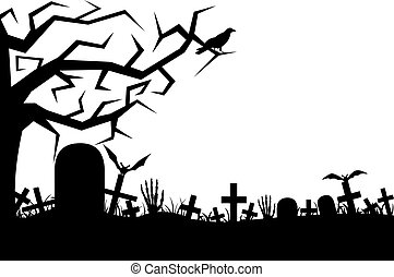 Cemetery isolated on white