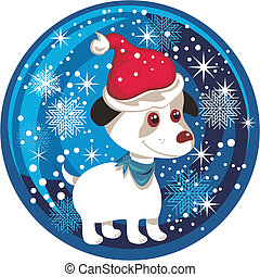 Christmas Snow Globe - Christmas snow globe with puppy and...