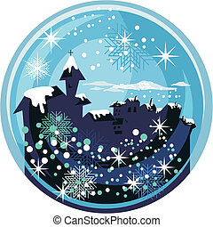 Winter Snow Globe - Winter snow globe with old town and...
