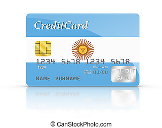 Credit Card covered with Argentina flag.