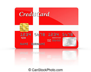 Credit Card covered with Denmark Flag.