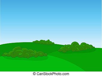 Green field landscape, vector illustration