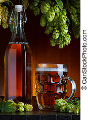 Beer with brewery hop and wheat still life