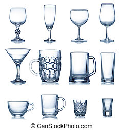 Clean empty glassware collection isolated