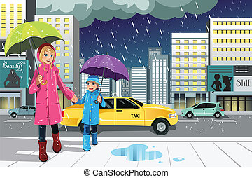 Mother daughter in the rain - A vector illustration of a...