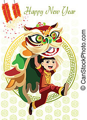 Chinese Lion dance - A vector illustration of a Chinese boy...