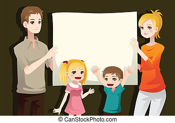 Family holding a blank paper