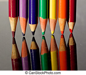 vários, colorido, LÁPIS, creions
