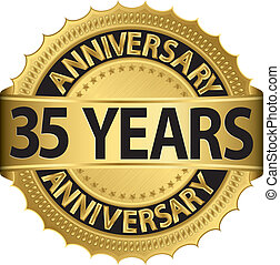 35 years anniversary golden label with ribbon, vector