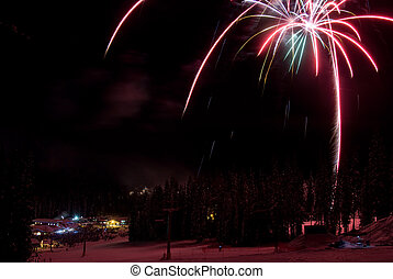 Fireworks at a ski resort in British Columbia