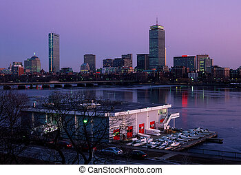 Boston skyline and MIT boathouse - MITs Charles River...