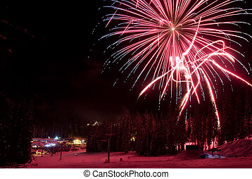 Fireworks at a ski resort in British Columbia, Canada