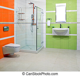 Contemporary lavatory - Contemporary bathroom with green and...