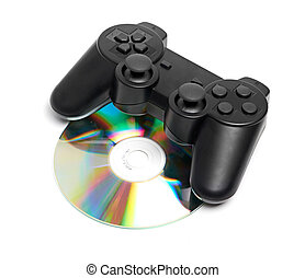 Game Pad and a CD isolated on a white background