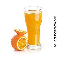 Orange juice glass isolated on white