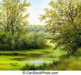 bonito, verão, paisagem, lona, óleo