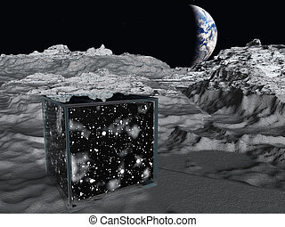 Box on lunar surface contains space