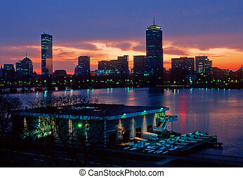 Boston skyline and MIT boathouse - MITs Pierce Boathouse and...