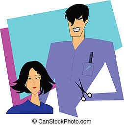 lady getting a haircut - illustration of modern lady getting...