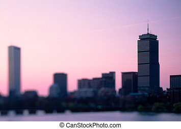 Boston Back Bay skyline - Prudential Building and Hancock...