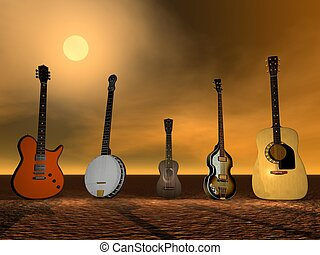 Guitars, banjo and ukulele ny sunset
