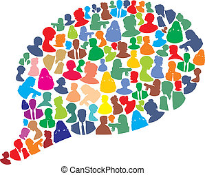 Bubble made people icons - speech bubble with many abstract...
