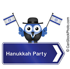 Hanukkah party sign isolated on white background