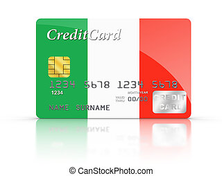 Credit Card covered with Italy flag.