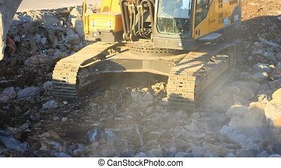 Excavator, construction site - Hydraulic excavator works for...