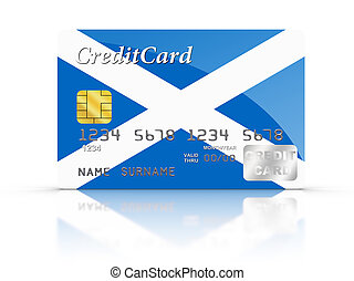 Credit Card covered with Scottish flag.