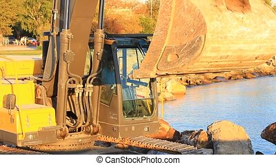 Ladle of the hydraulic excavator - Hydraulic excavator works...