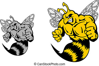 Angry hornet or yellow jacket mascot in cartoon style