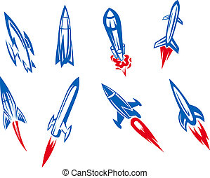 Rockets and missiles - Set of rockets and missiles in...