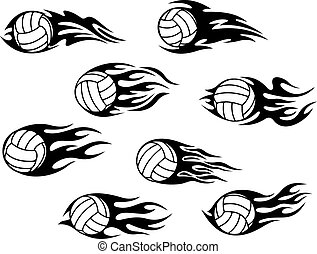 Volleyball sports tattoos - Set of volleyball sports tattoos...