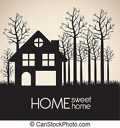 house silhouette - Illustration of home icon, house...