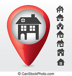 home icons - Illustration of home icons in buttons, house...