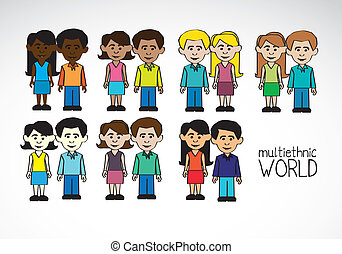multicultural and multiethnic people - Illustration of...
