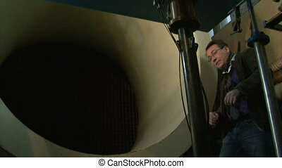 The journalist at the wind tunnel