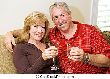 Quality Time Together - Beautiful mature couple enjoying a...