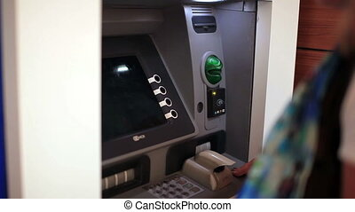 atm - people use atm machine, steady cam shoot