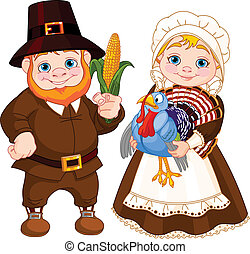 Cute Pilgrims Couple - Illustration of Cute Pilgrims Couple...