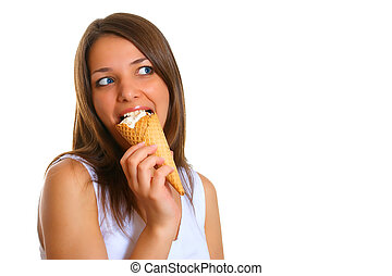 Woman with ice cream 4 - Photo of the young woman with ice...
