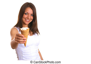 Woman with ice cream 6 - Photo of the young woman with ice...