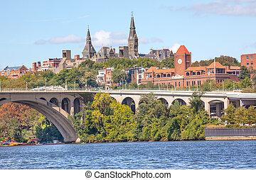 Key Bridge Georgetown University Washington DC Potomac River...