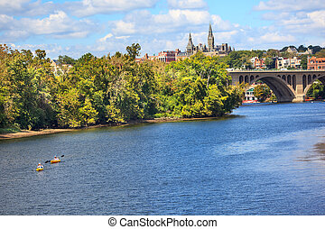 Key Bridge Georgetown University Washington DC Potomac River...