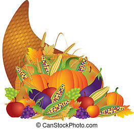 Thanksgiving Day Fall Harvest Cornucopia Illustration -...