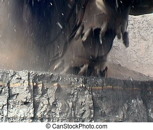 Coal mining. - Digger. Extraction of coal  digger.
