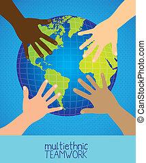 multiethnic teamwork - Illustration of multiethnic teamwork,...
