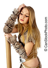 Pretty barbarian - Young beautiful woman in barbarian...